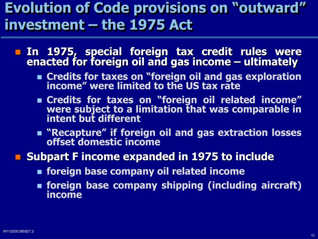 "Evolution of Code provisions on ""outward"" investment – the 1975 Act"