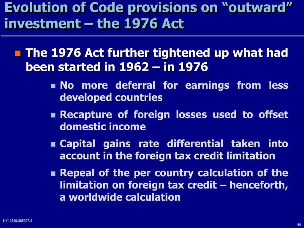 "Evolution of Code provisions on ""outward"" investment – the 1976 Act"