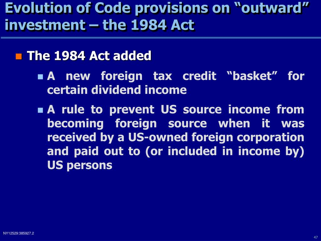 "Evolution of Code provisions on ""outward"" investment – the 1984 Act"