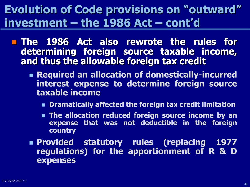 "Evolution of Code provisions on ""outward"" investment – the 1986 Act – cont'd"