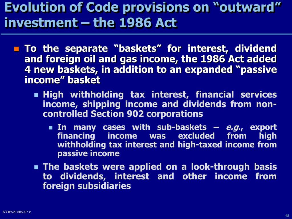 "Evolution of Code provisions on ""outward"" investment – the 1986 Act"