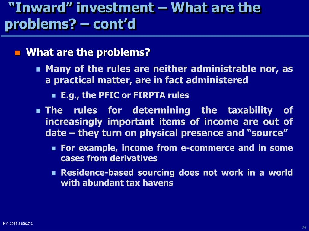"""Inward"" investment – What are the problems? – cont'd"