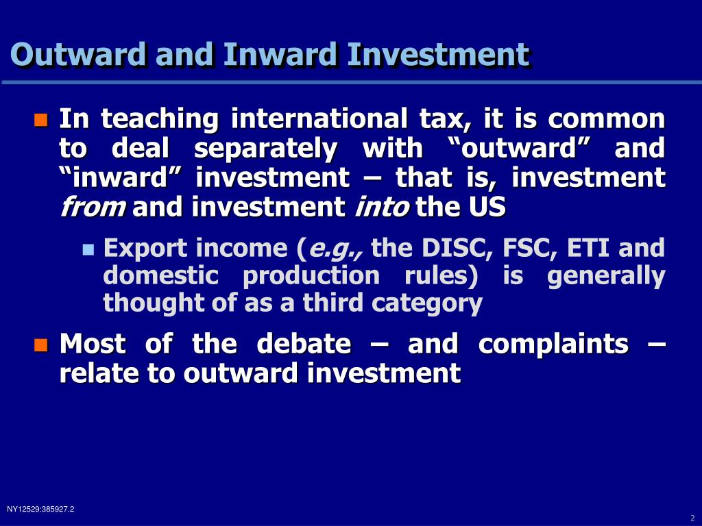Outward and Inward Investment