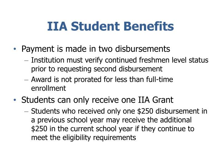 IIA Student Benefits