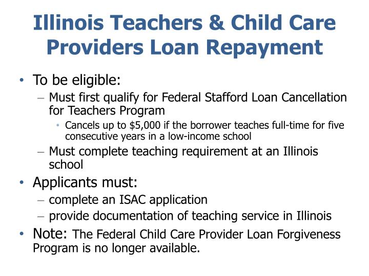Illinois Teachers & Child Care Providers Loan Repayment