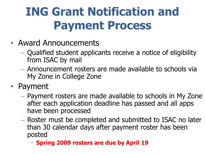ING Grant Notification and Payment Process