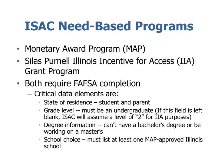 ISAC Need-Based Programs