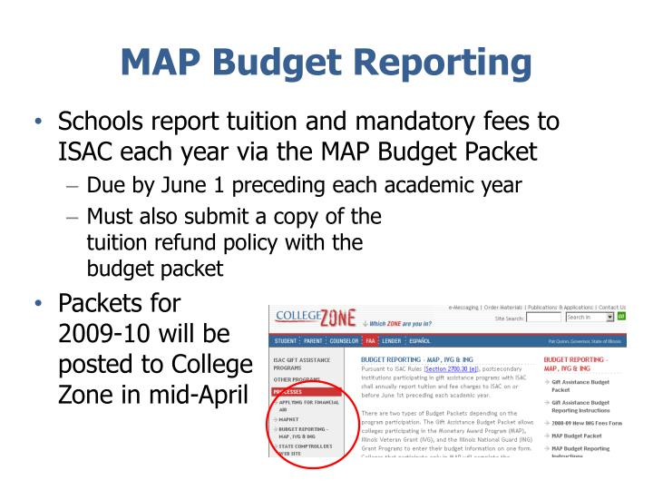 MAP Budget Reporting