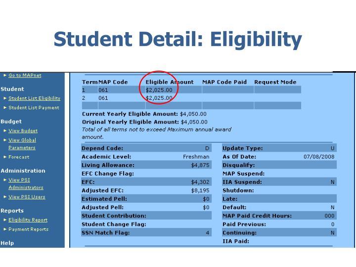 Student Detail: Eligibility