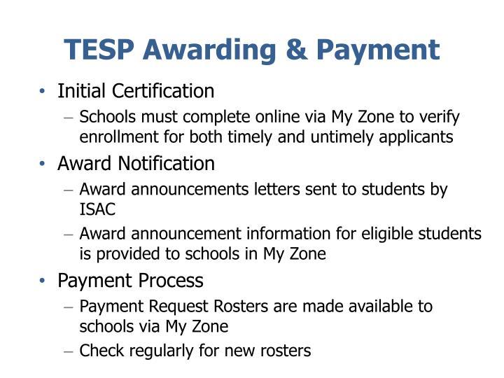 TESP Awarding & Payment