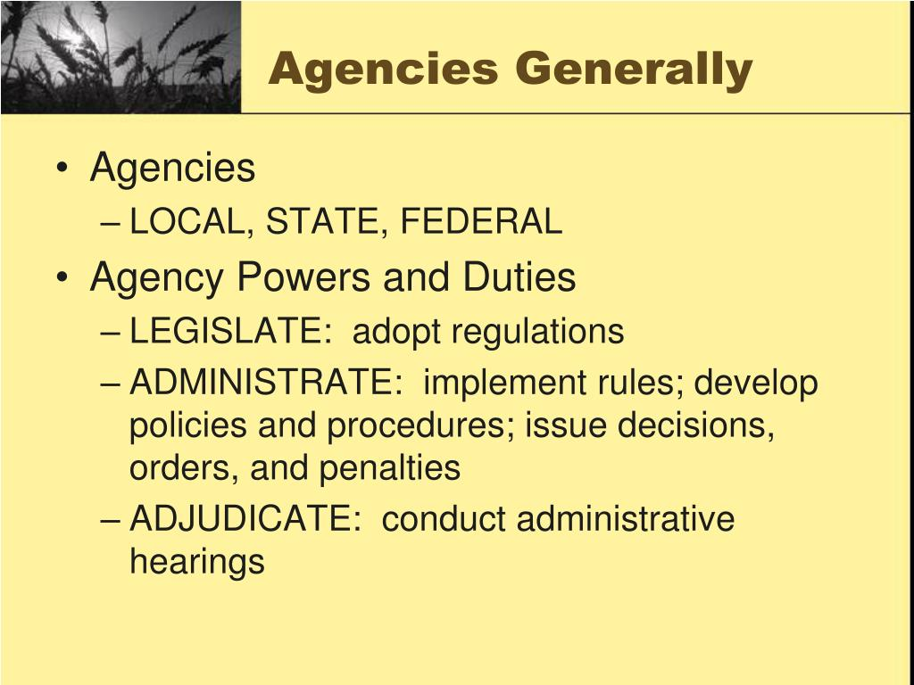 Agencies Generally