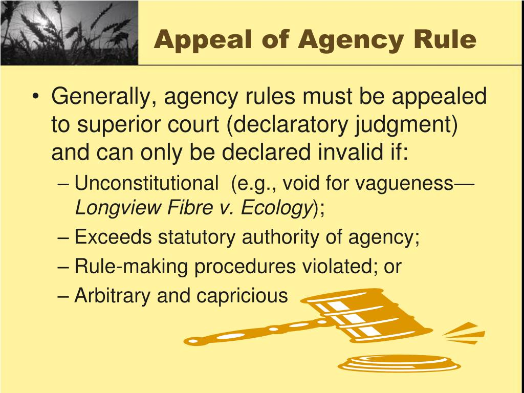 Appeal of Agency Rule