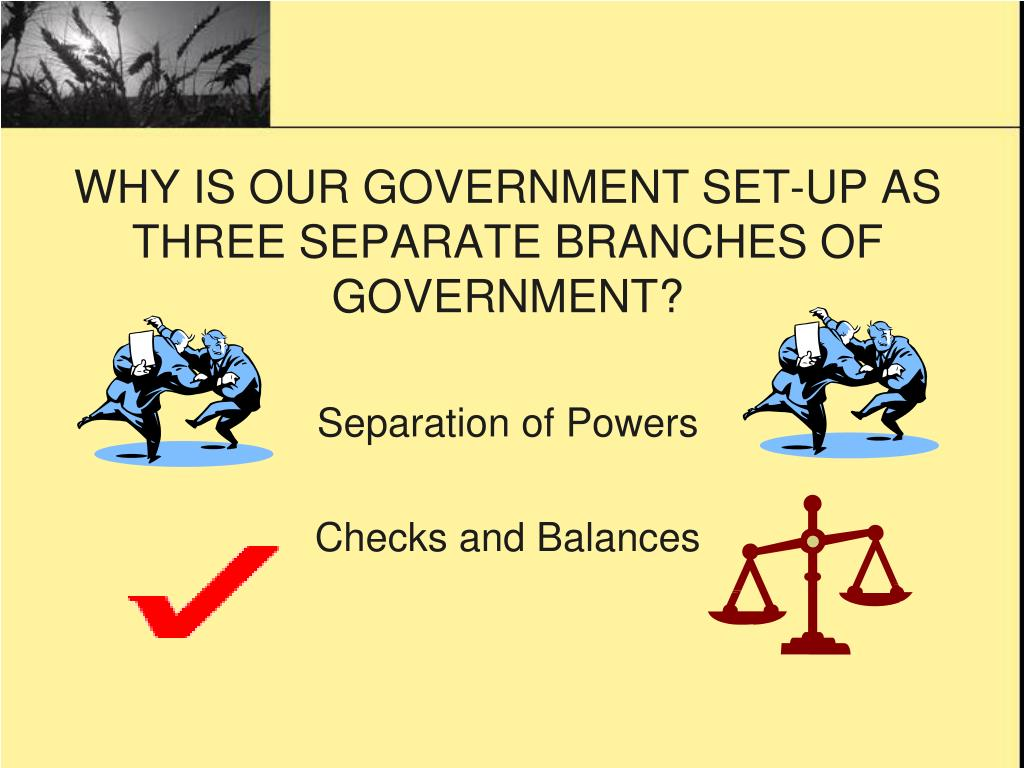WHY IS OUR GOVERNMENT SET-UP AS THREE SEPARATE BRANCHES OF GOVERNMENT?