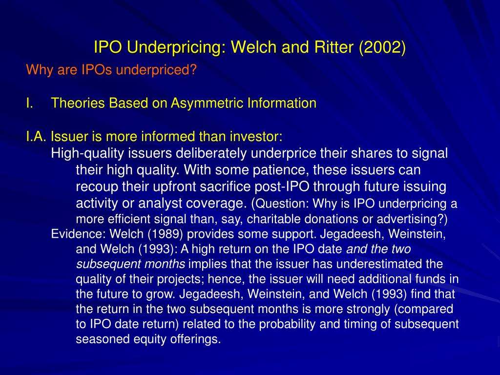 ipo underpricing An initial public offering, commonly known as an ipo, is the process of selling corporate shares in an open stock exchange for the first time the underwriter is a financial specialist who specializes in ipos and plays a critical role the ipo is usually one of the rare make-or-break moments in the.