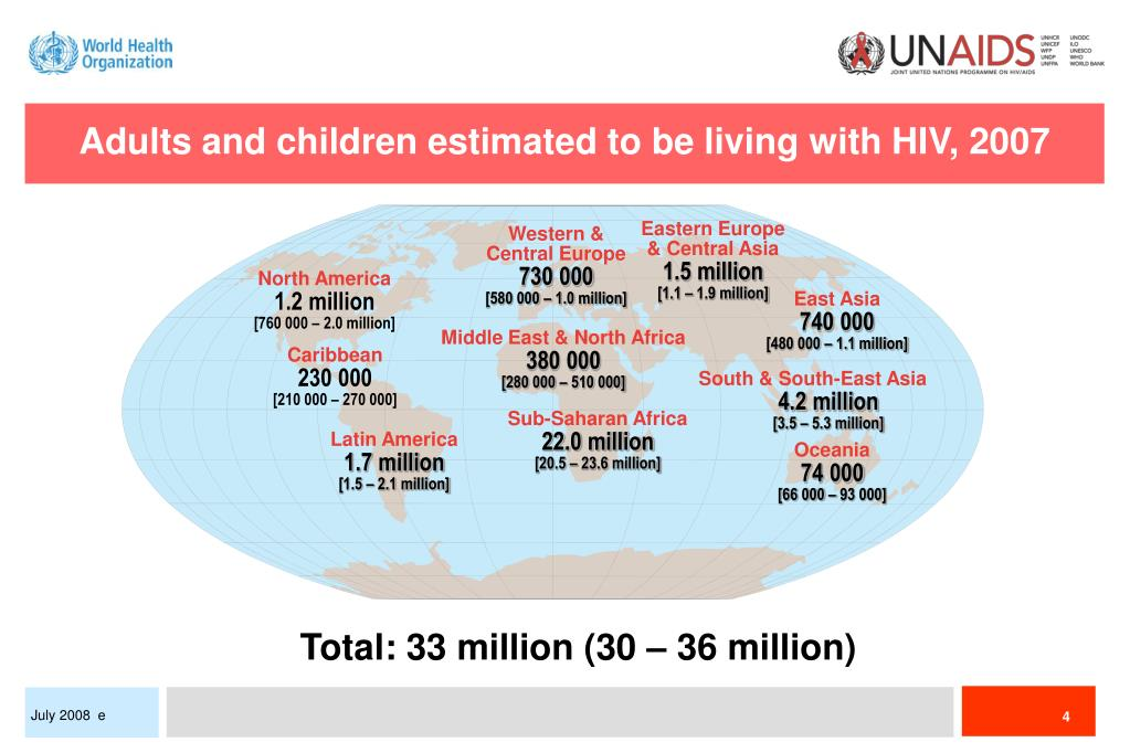 Adults and children estimated to be living with HIV, 2007