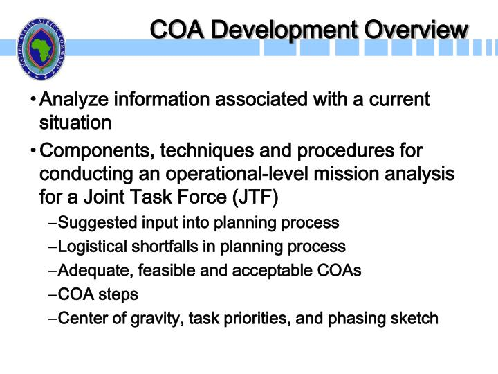 COA Development Overview