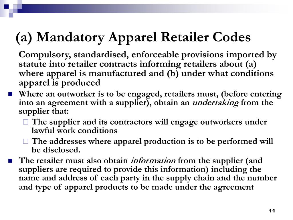 (a) Mandatory Apparel Retailer Codes