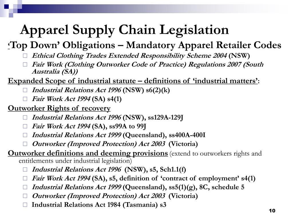 Apparel Supply Chain Legislation