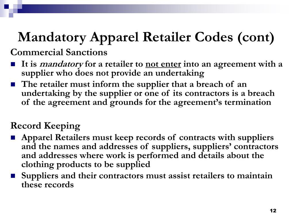 Mandatory Apparel Retailer Codes (cont)