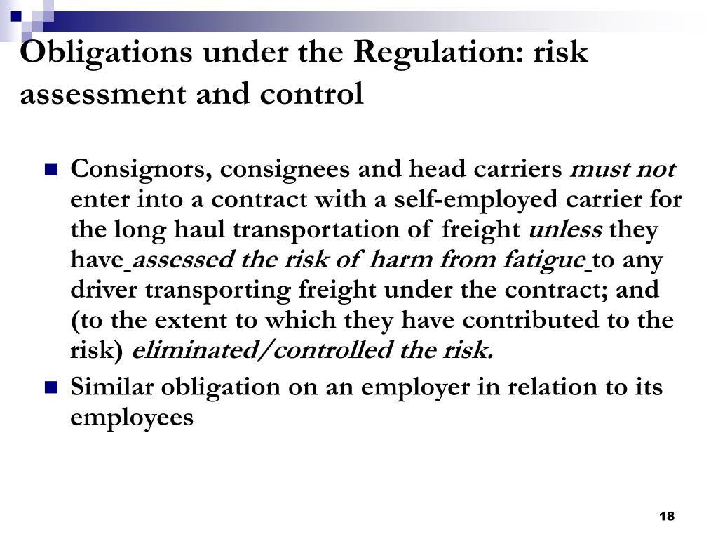 Obligations under the Regulation: risk assessment and control