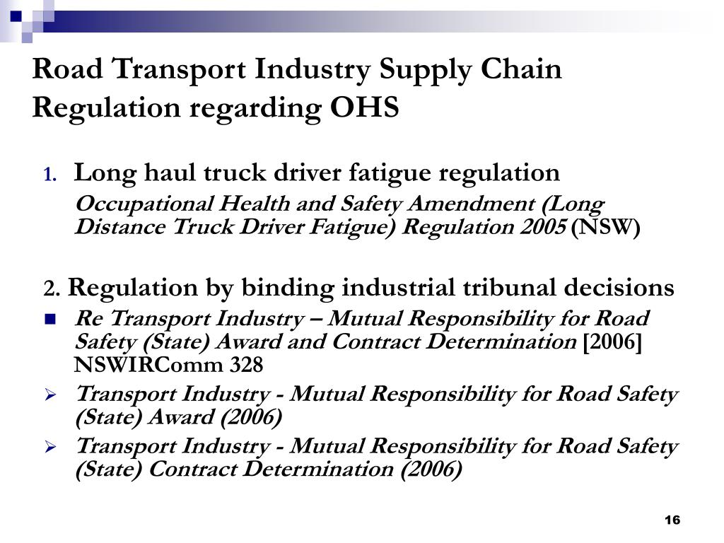 Road Transport Industry Supply Chain Regulation regarding OHS