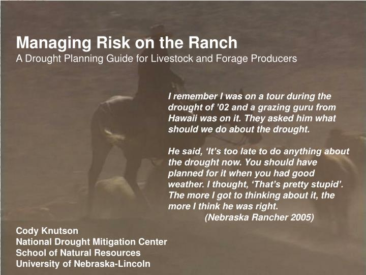 Managing Risk on the Ranch