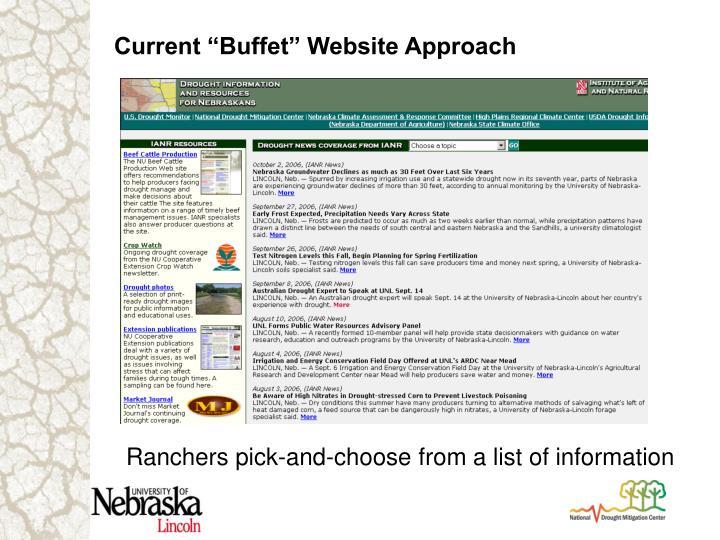 """Current """"Buffet"""" Website Approach"""