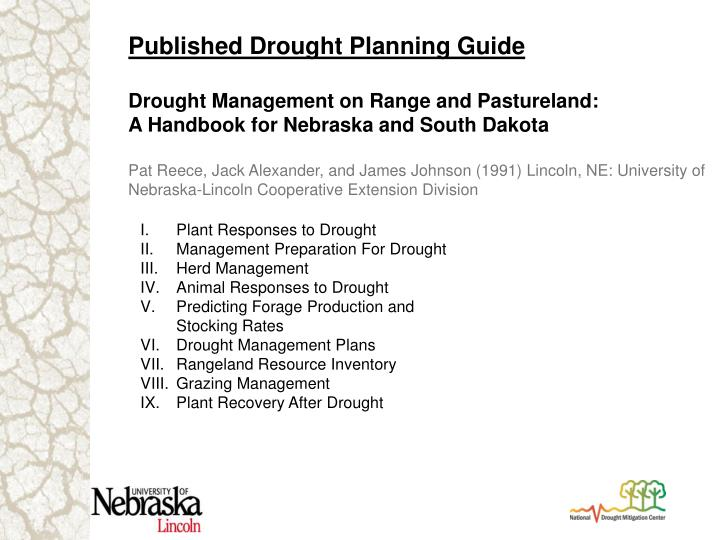 Published Drought Planning Guide