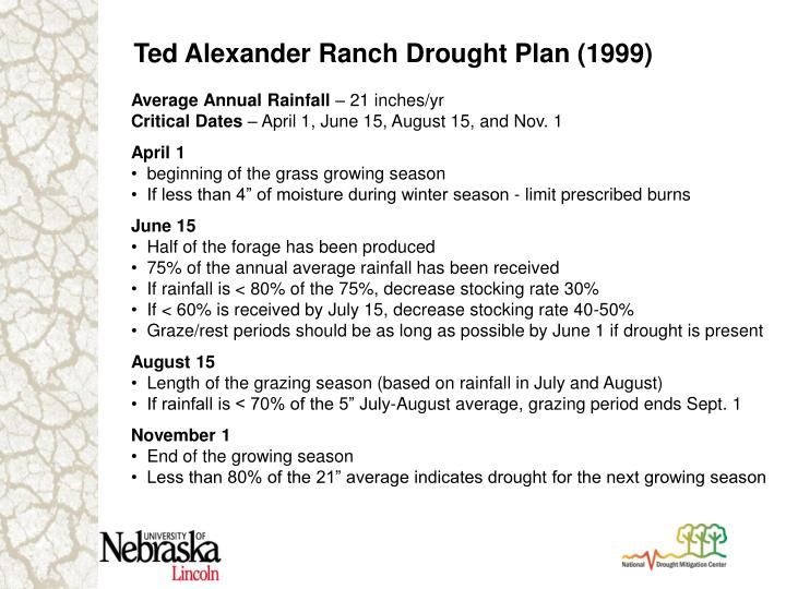 Ted Alexander Ranch Drought Plan (1999)
