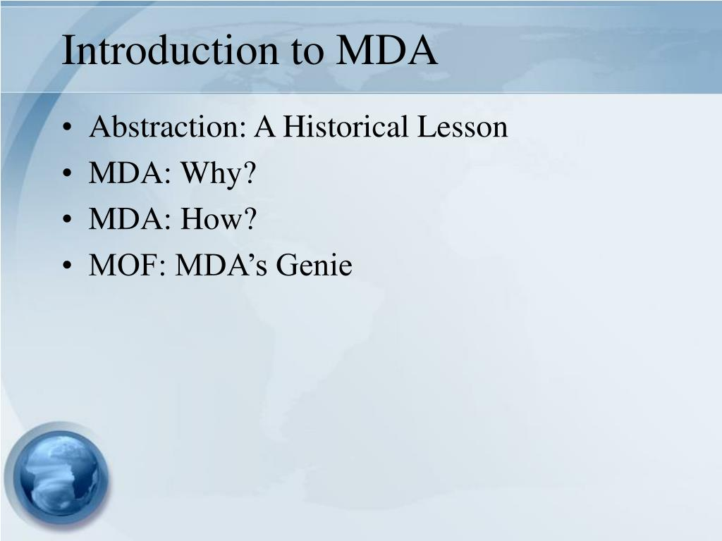 Introduction to MDA