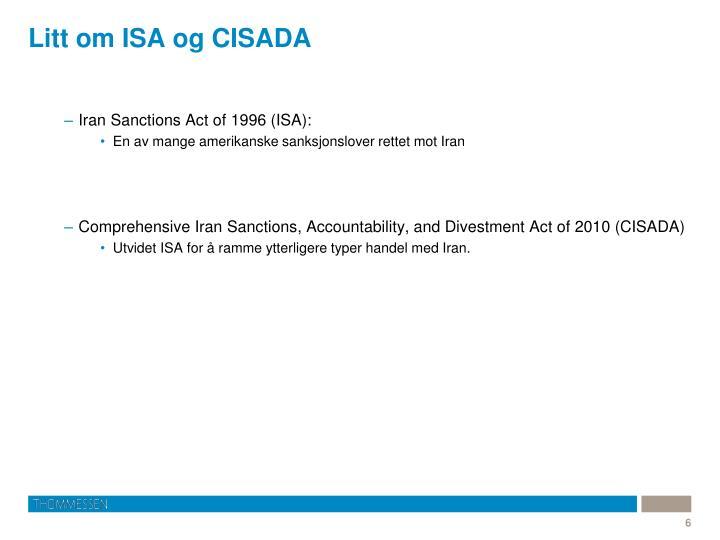 Litt om ISA og CISADA