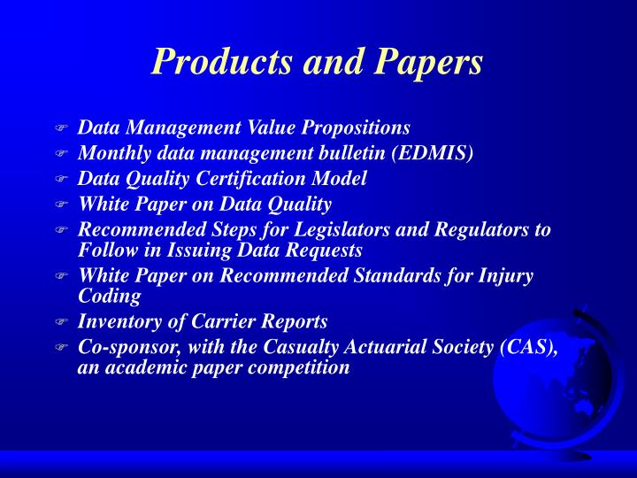 Products and Papers