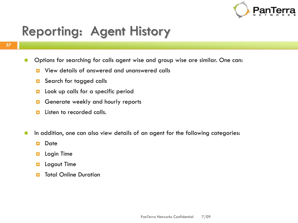 Reporting:  Agent History