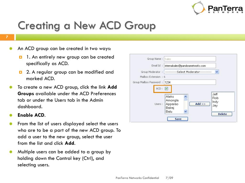 Creating a New ACD Group