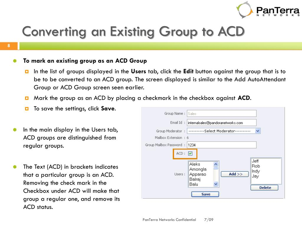 Converting an Existing Group to ACD