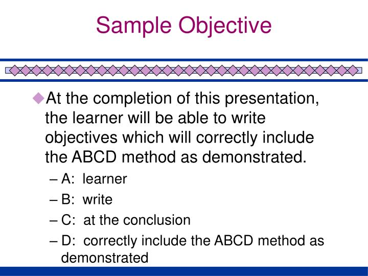 Sample Objective