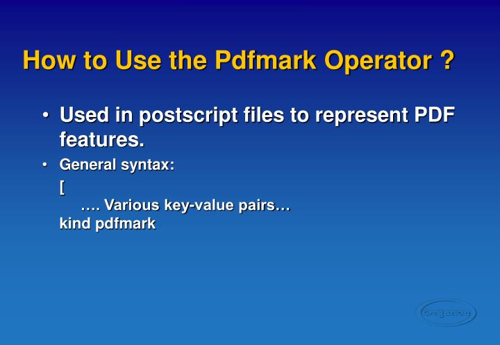 How to Use the Pdfmark Operator ?