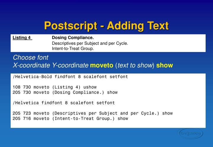 Postscript - Adding Text