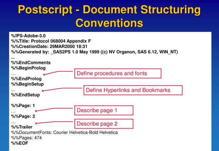 Postscript - Document Structuring Conventions