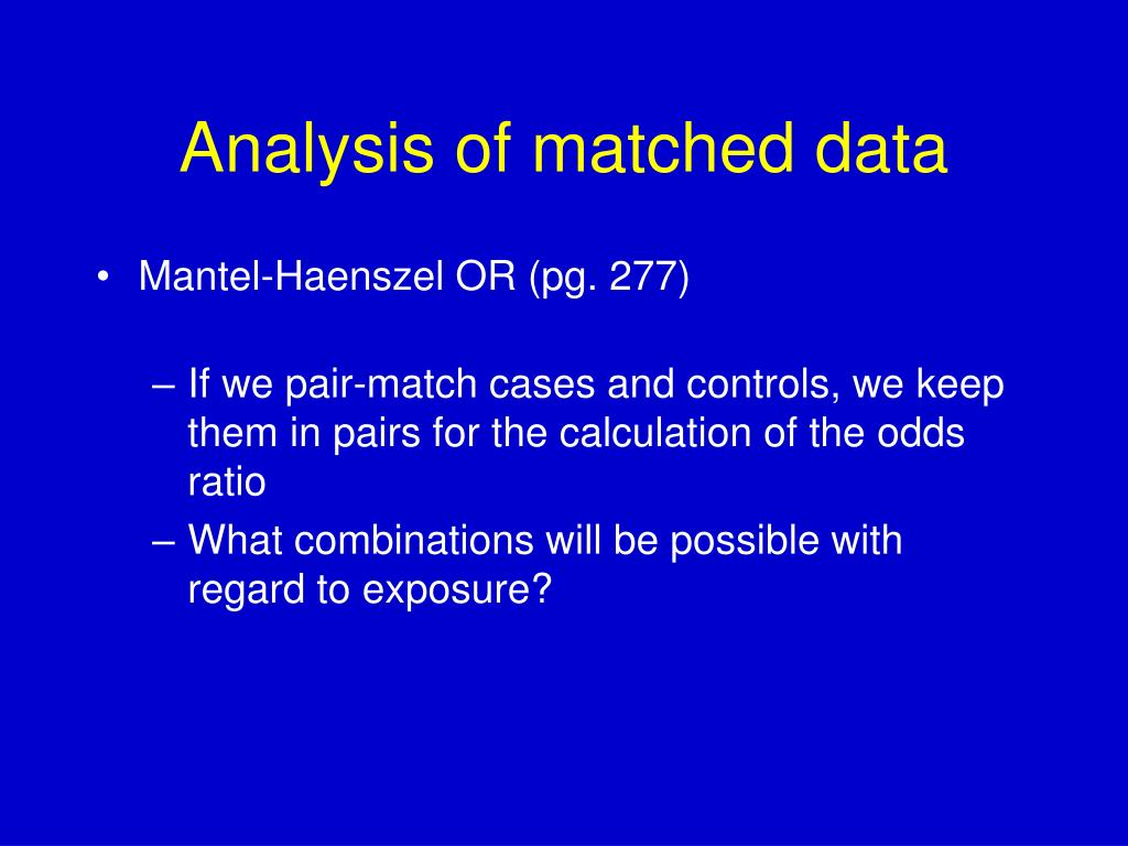 Analysis of matched data