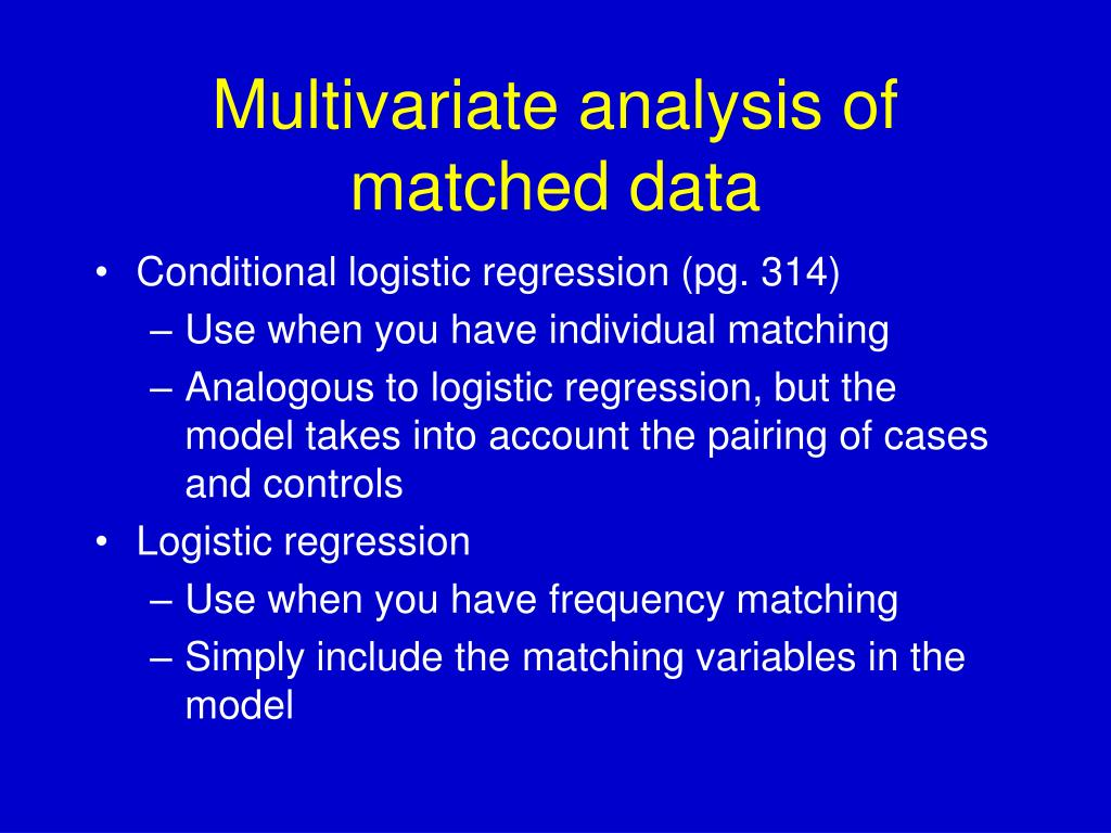 Multivariate analysis of matched data