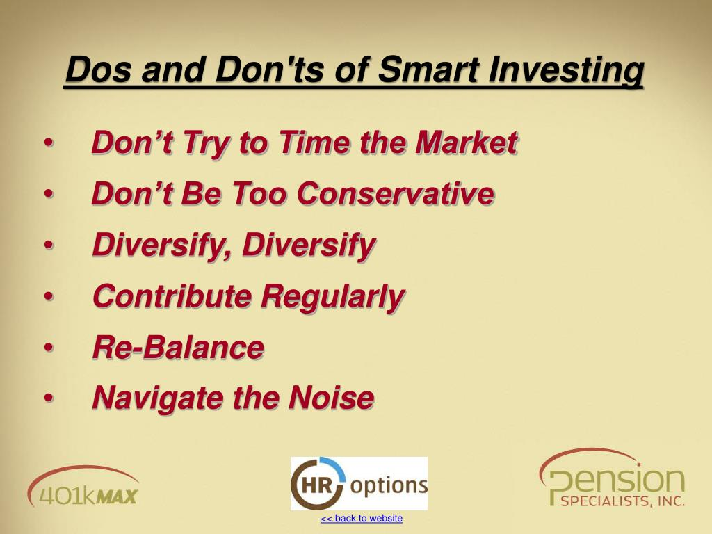 Dos and Don'ts of Smart Investing