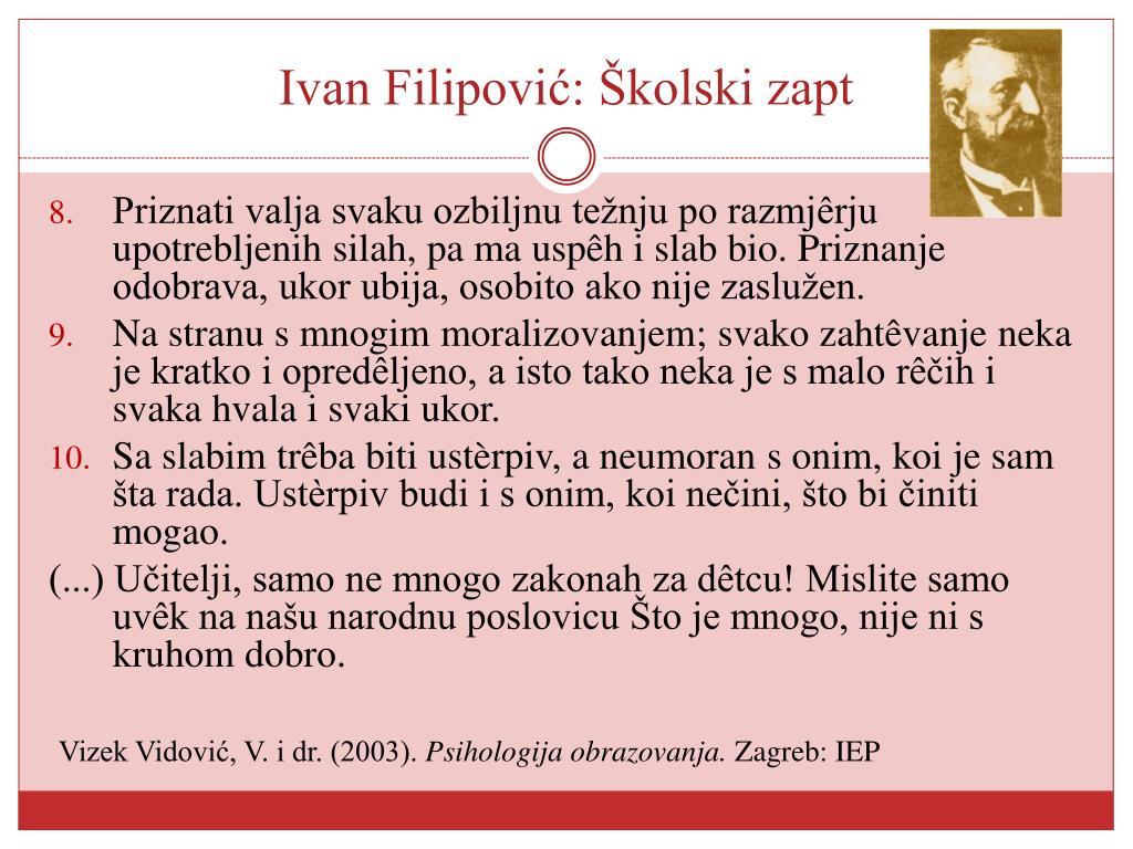 Ivan Filipović: Školski zapt