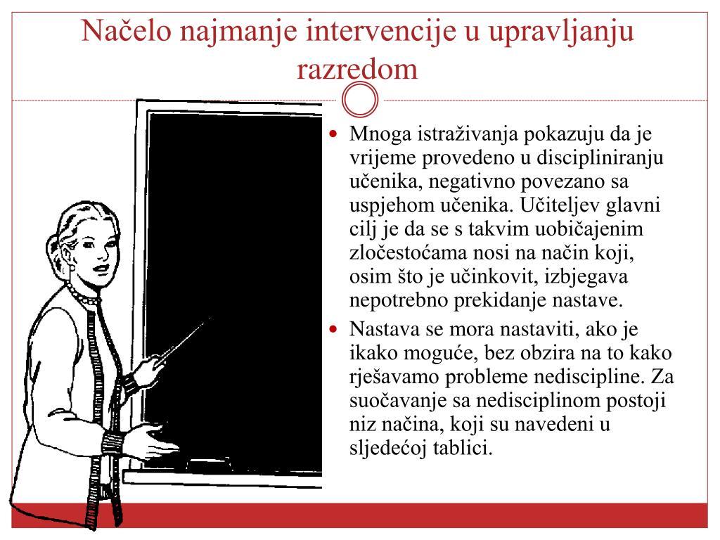 Načelo najmanje intervencije u upravljanju razredom