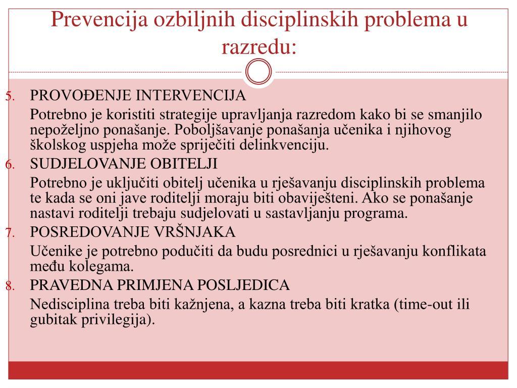 Prevencija ozbiljnih disciplinskih problema u razredu: