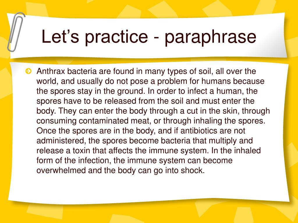 Let's practice - paraphrase