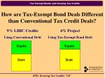 how are tax exempt bond deals different than conventional tax credit deals
