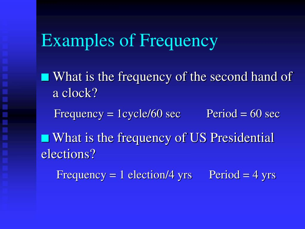 Examples of Frequency