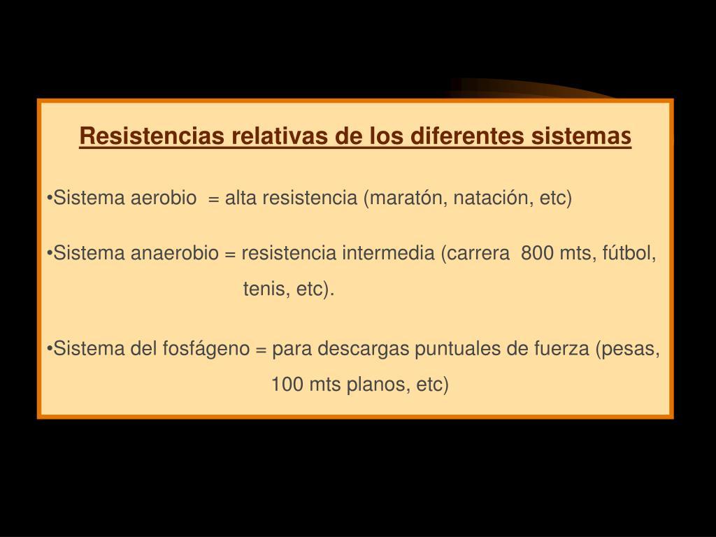 Resistencias relativas de los diferentes sistem