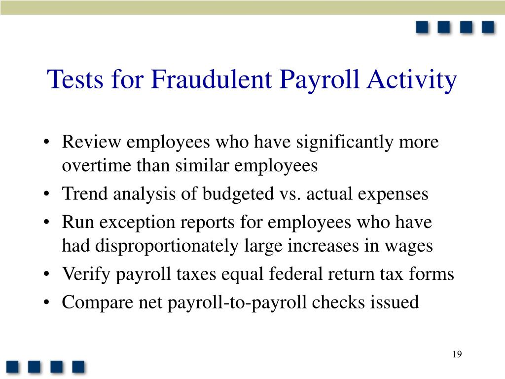 Tests for Fraudulent Payroll Activity